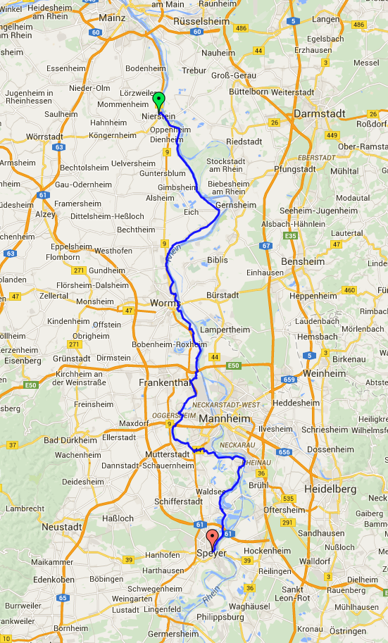 Nierstein Germany  City new picture : Today we were heading from Nierstein to Speyer which would involve ...